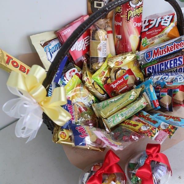 Flower Gift Korea Snack Basket Hand Delivery Seoul